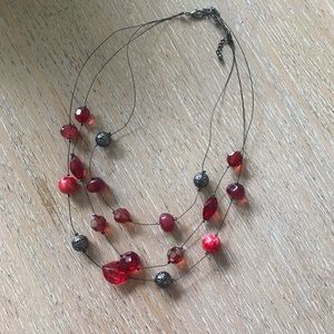 Jewelry - Red and black layered choker necklace